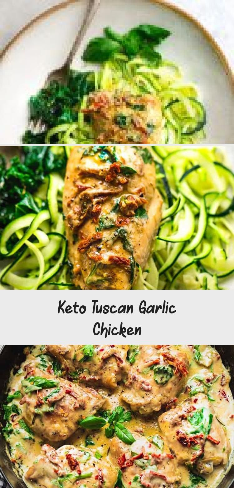Keto Tuscan Garlic Chicken with Spinach, Sun-Dried Tomato and Basil is full of flavor and perfect for busy weeknights. Best of all, this simple recipe cooks up in one pan in just 30 minutes with a delicious creamy low carb & keto friendly sauce. Freezer-friendly & great for meal prep Sunday for work or school lunches. #lowcarb #keto #chicken #dinner #sundriedtomato #creamsauce #chickendinner #onepanmeal #30minutedinner #dinnerrecipesOven #dinnerrecipesSausage #dinnerrecipesForFamily #dinnerrecip
