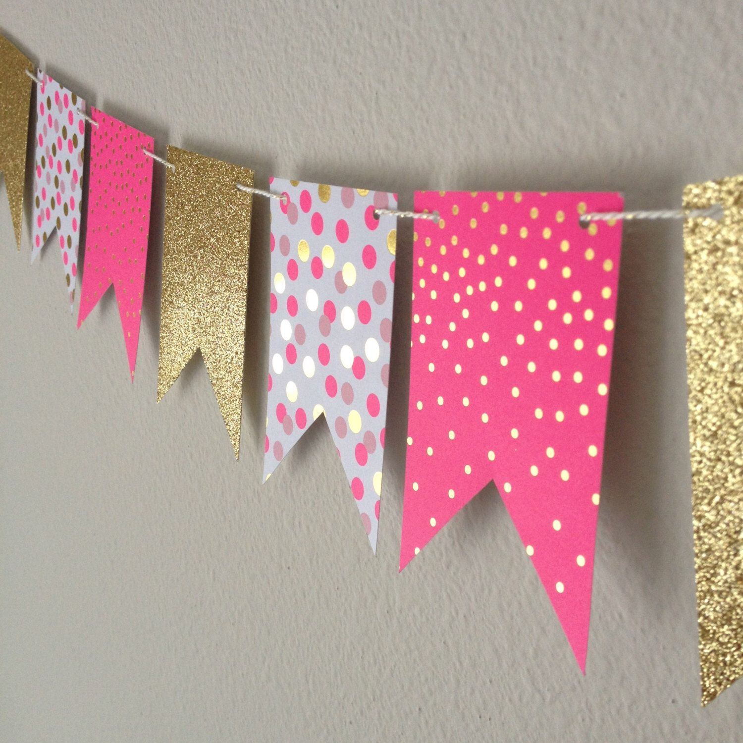Design banner for etsy - Mini Banner Pink Gold Paper By Partyhappier I Have A Crush On This