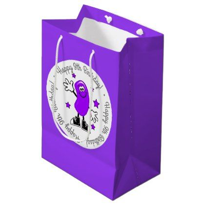 Purple Jelly Bean Personalized Birthday Medium Gift Bag