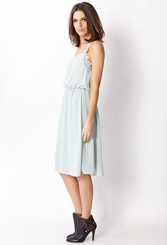 Crochet Lace-Trimmed Dress | FOREVER21 - 2000126458
