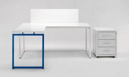 Scrivania Ufficio Blu : Scrivania ufficio angolare di design blu quadrotto qs camera
