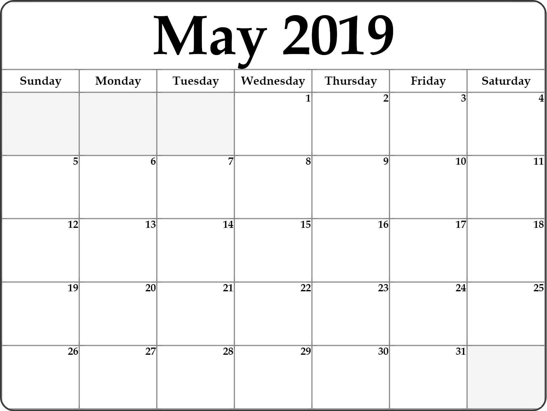 May Calendar 2019 Full Page Printable Blank Calendar Calendar