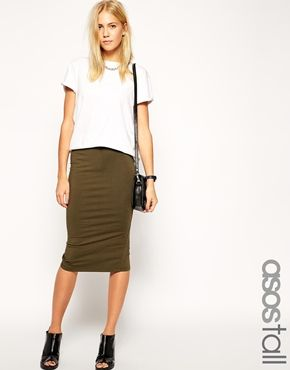 beac0f15d796 ASOS TALL Midi Pencil Skirt in Jersey Detail | Work clothes in 2019 ...