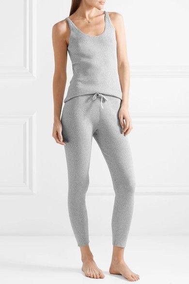 Vanya Ribbed Cotton-blend Leggings - Gray Skin GOF4mB48Ve
