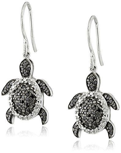 Sterling Silver Black And White Diamond Turtle Earrings 1 2 Cttw I J Color