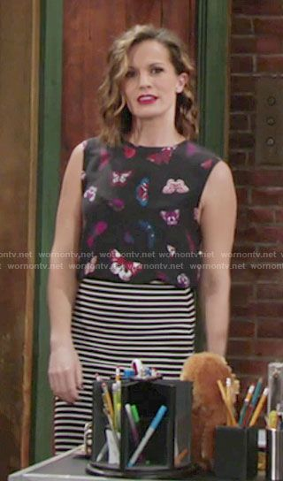 dbb605d003ef6f Chelsea's black butterfly print top on The Young and the Restless. Outfit  Details: https