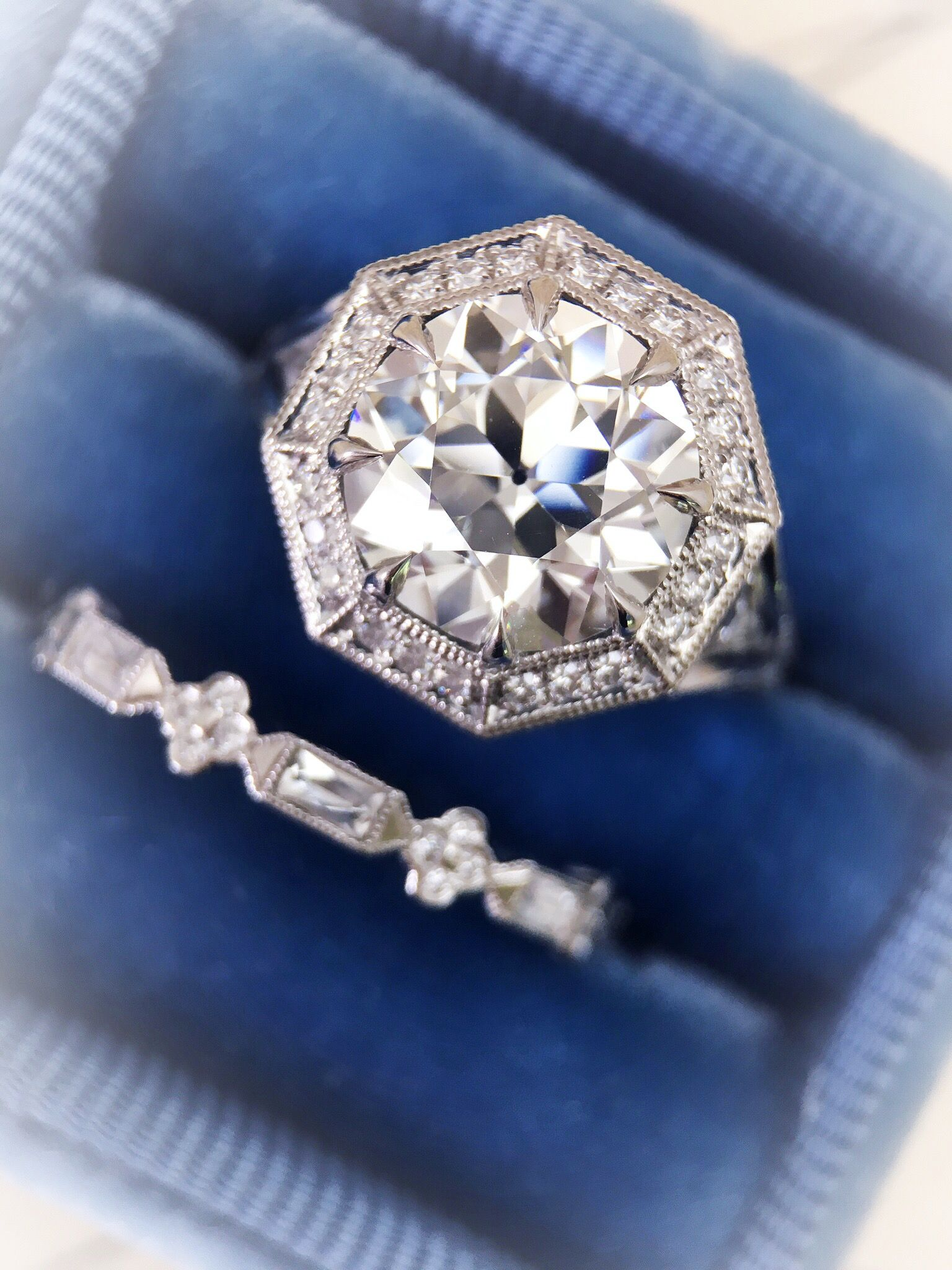 """The """"Kalynne"""" octagonal style halo in platinum; by CvB"""