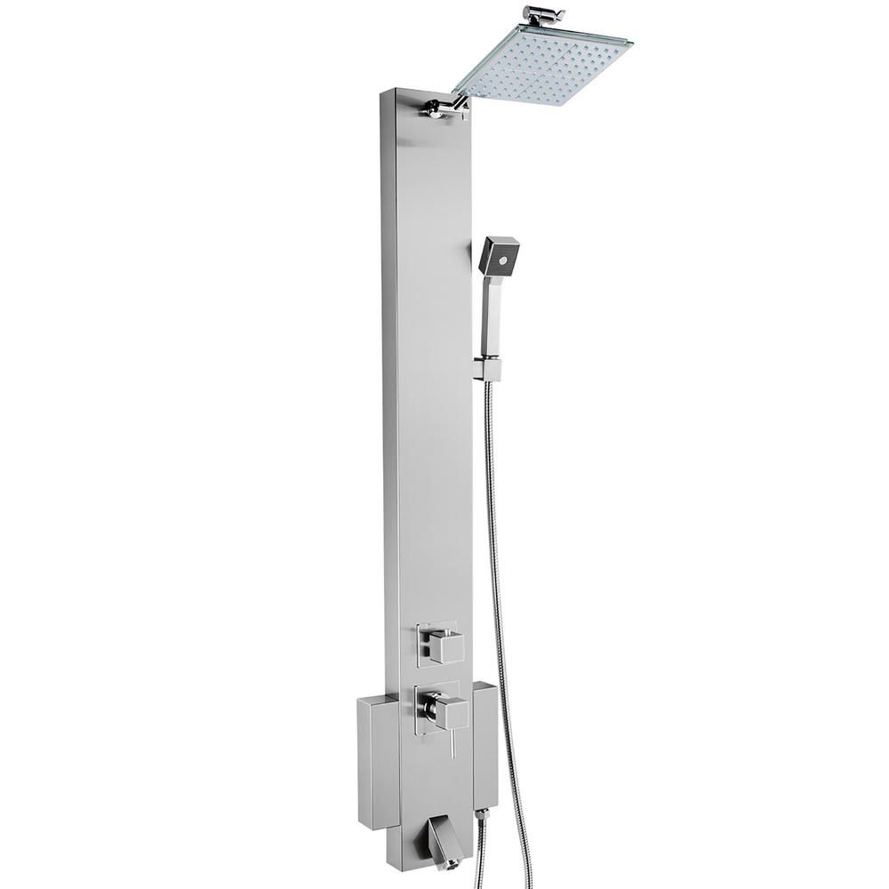 Akdy 48 In Shower Panel System In Stainless Steel Silver With