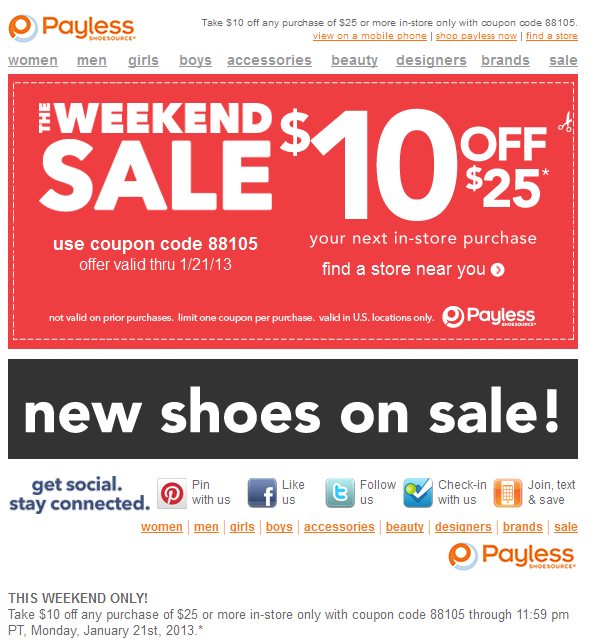Payless coupons 25