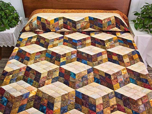 Tumbling Blocks Quilt. Lovely hand painted Batik style fabrics ... : painted quilt - Adamdwight.com