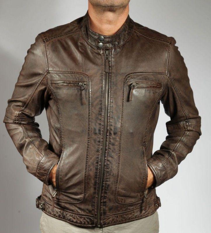 Blouson en cuir carrey marron cuir agneau lav aspect vintage couleur marron - Laver une veste en cuir ...