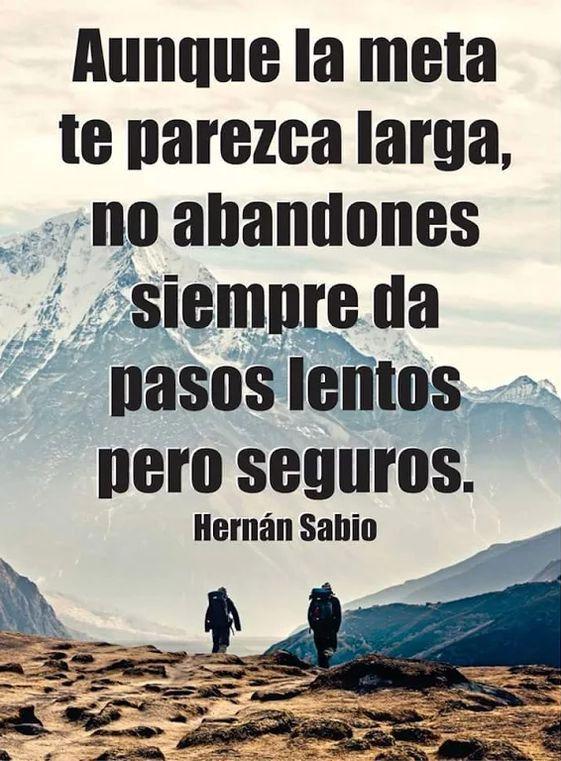 ... Aunque la meta te parezca larga, no abandones y siempre da pasos lentos pero seguros. Hernán Sabio.
