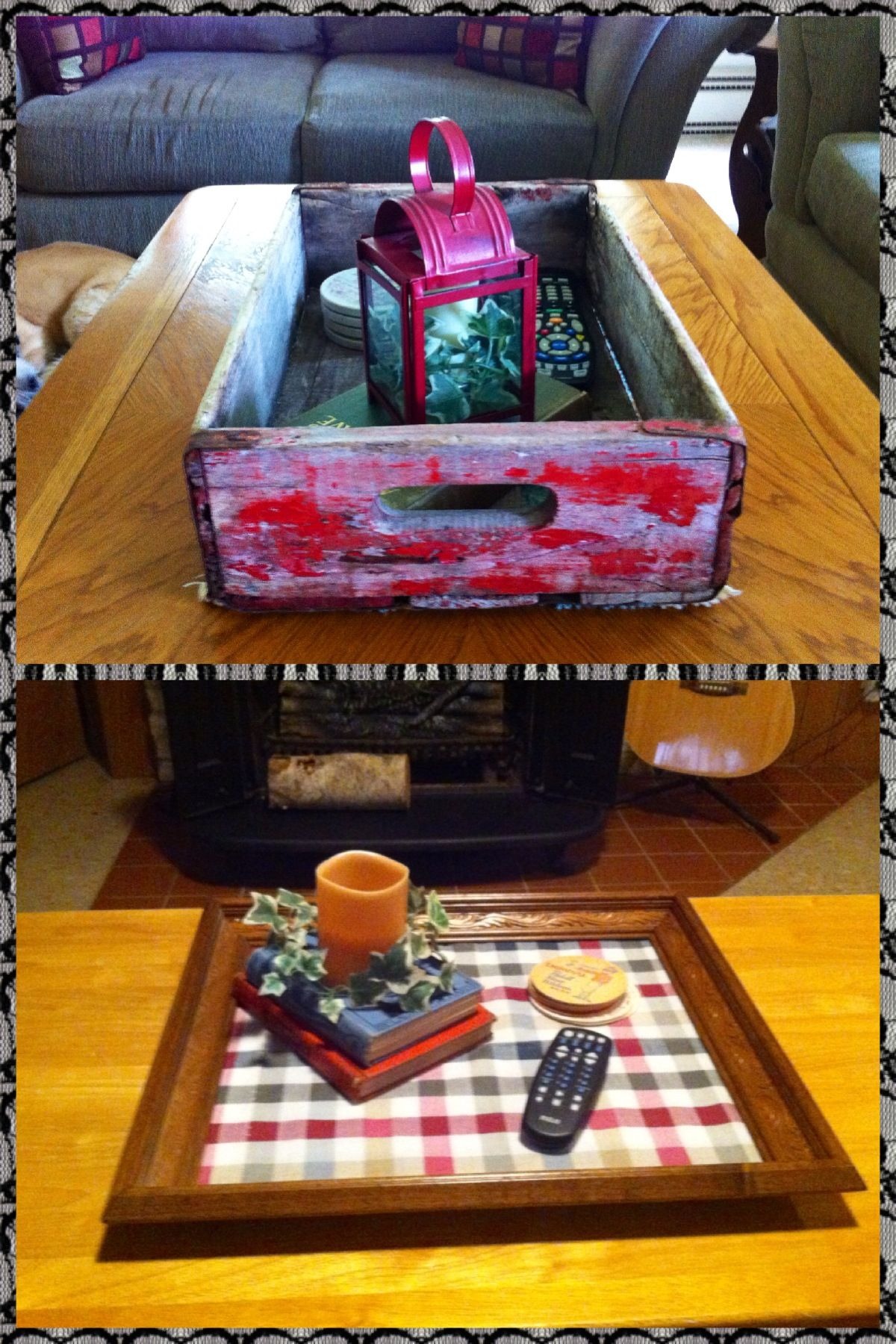 Two different coffee table trays I put together. One using ...