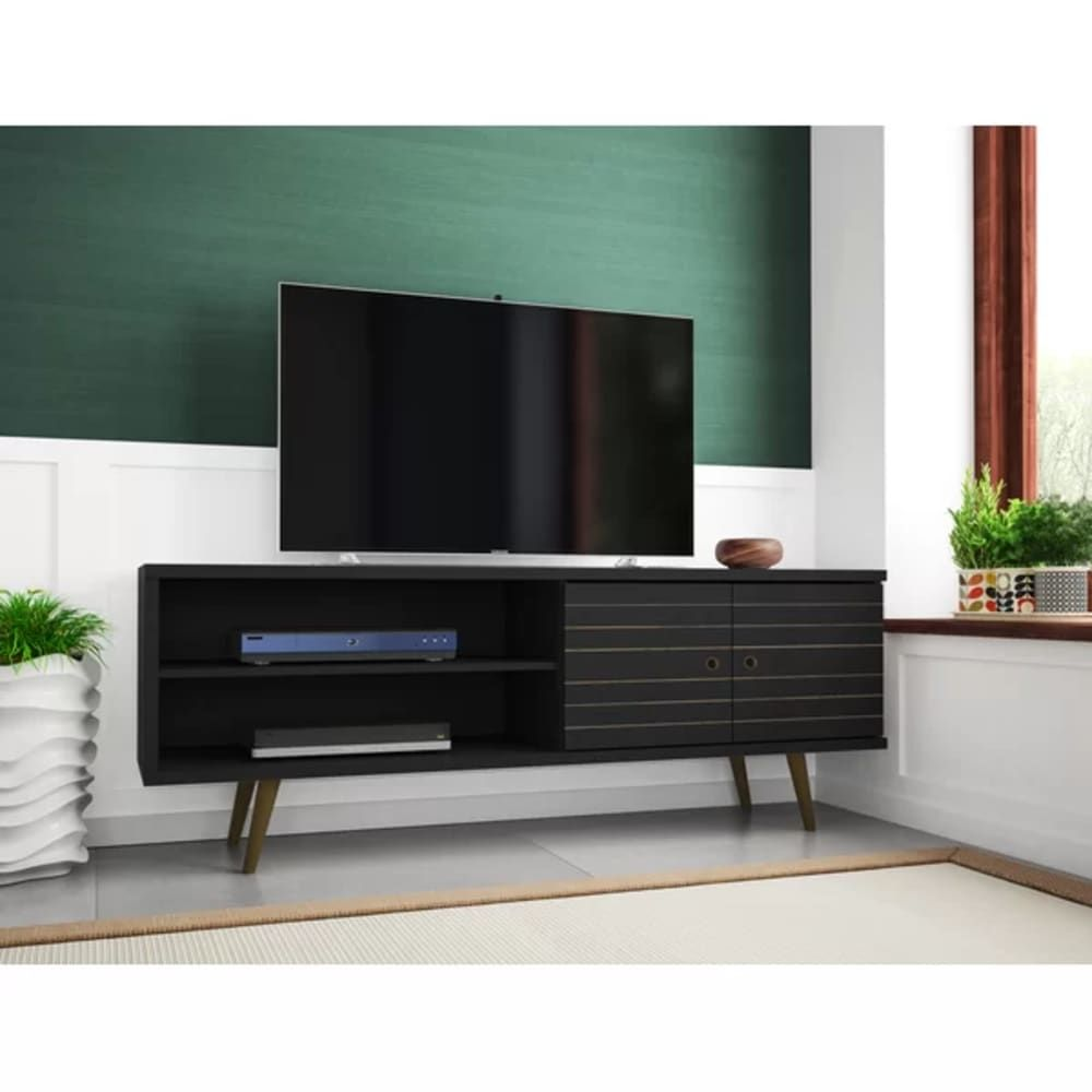 7 Black Furniture Pieces From Joss Main S Sale That Will Amp Up The Drama In Your Home Living Room Tv Stand Mid Century Modern Tv Stand Modern Tv Stand
