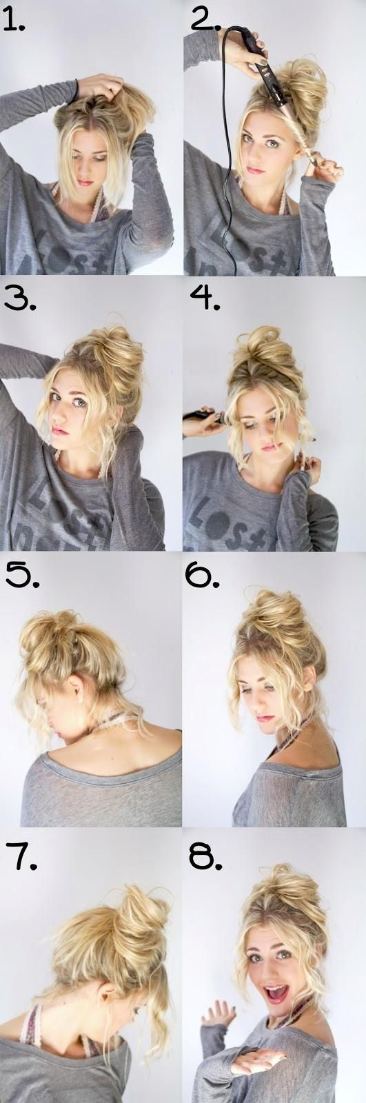 messy bun step by step pictures, photos, and images for