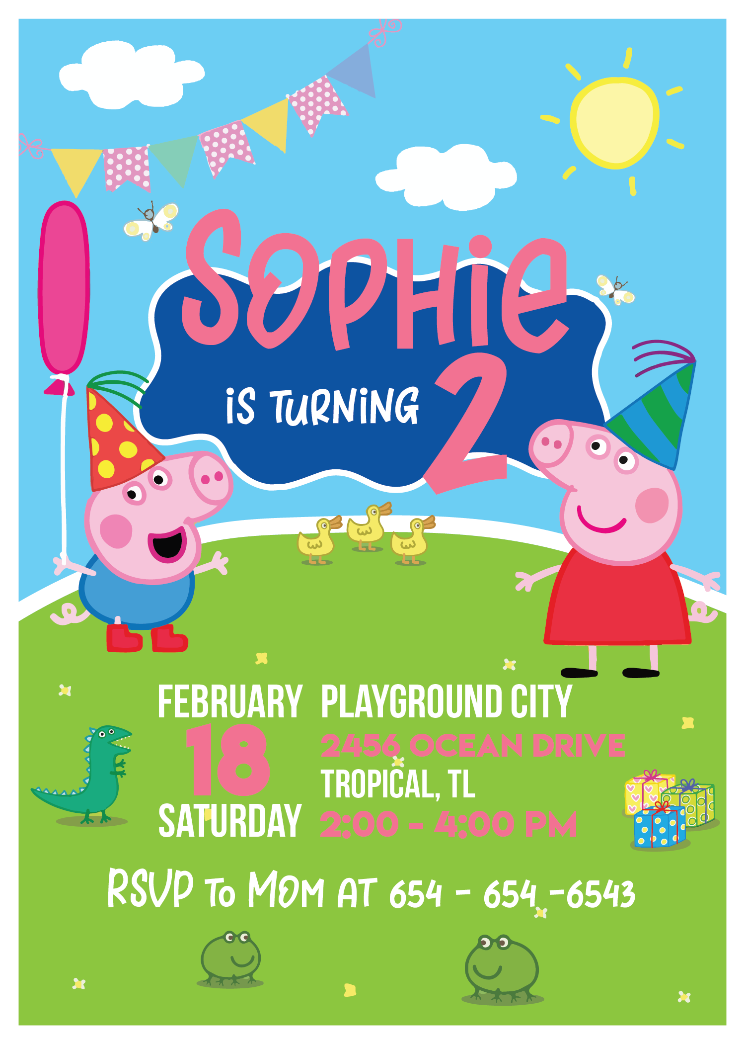 peppa pig birthday invitation peppa