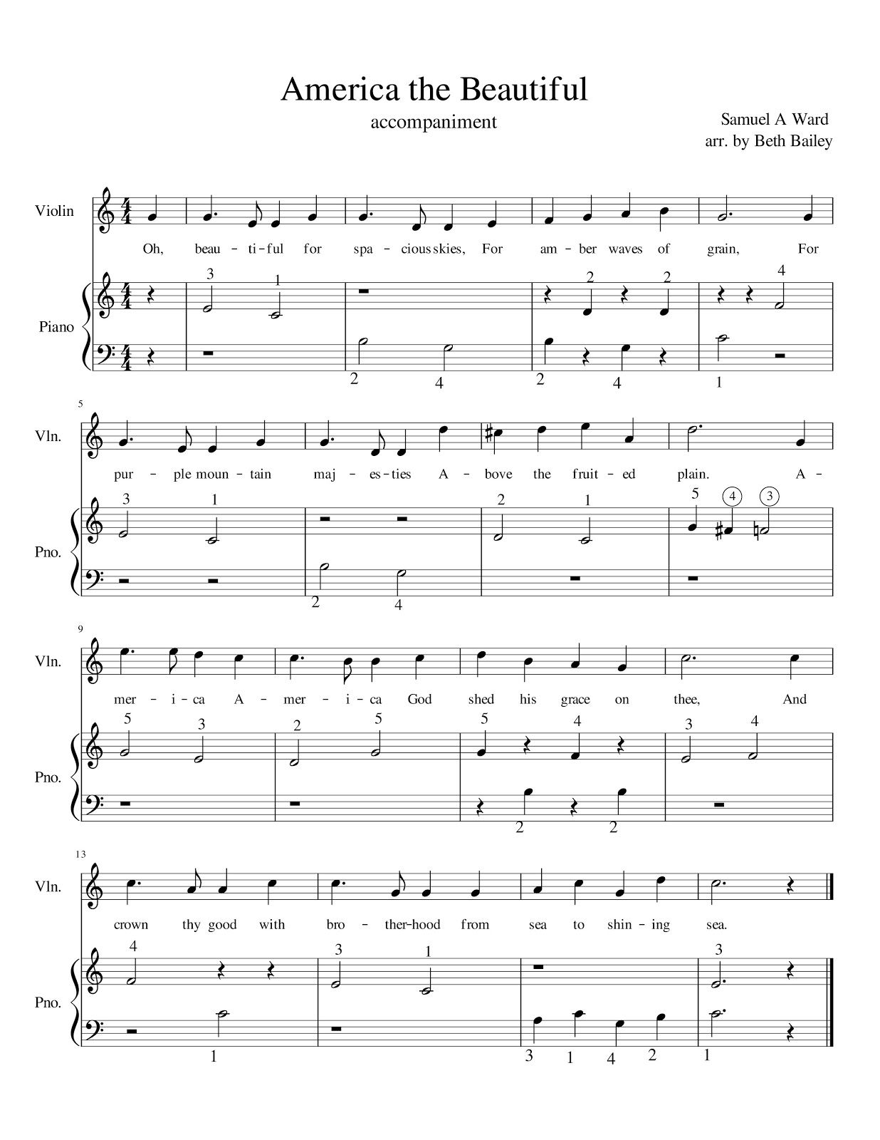 Sheet music from our Patriotic recital - May 2017