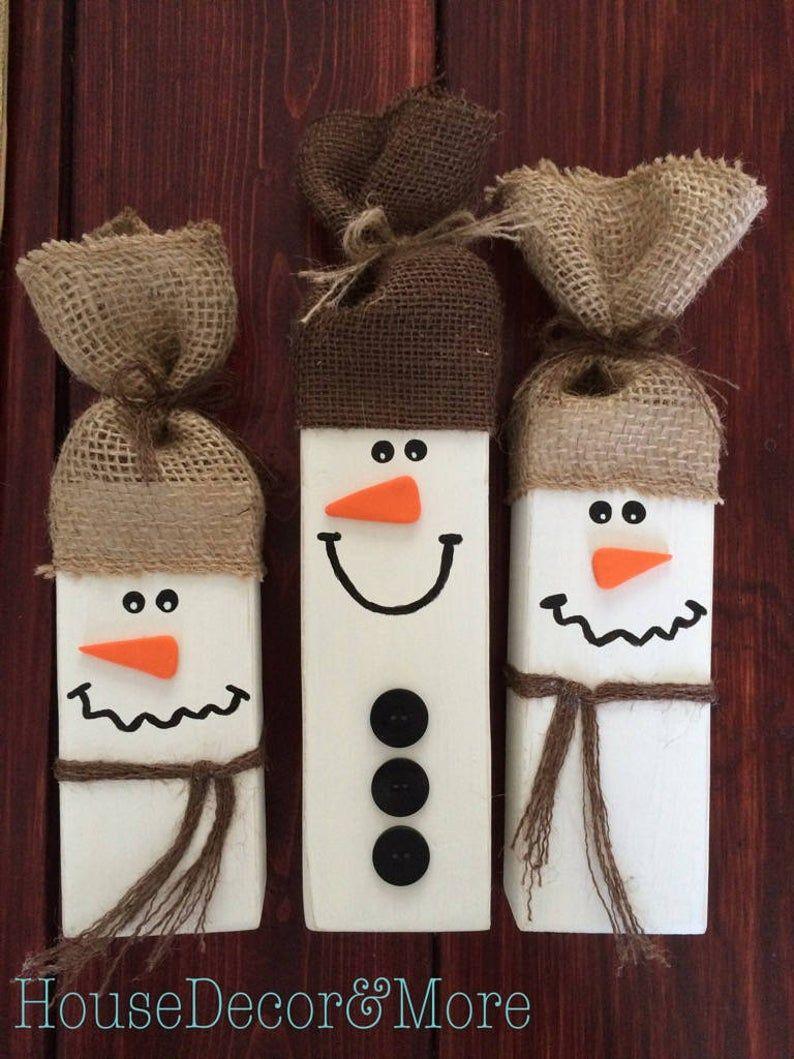 Set von 3 rustikale Holz Schneemänner - rustikale Weihnachten Dekor - Primitive Schneemann Set - Winter Schneemann Dekor