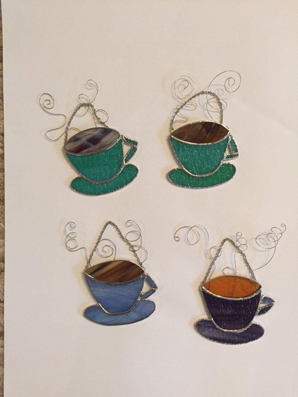 Stained Glass Coffee Suncatcher by GlassbyLeona on Etsy