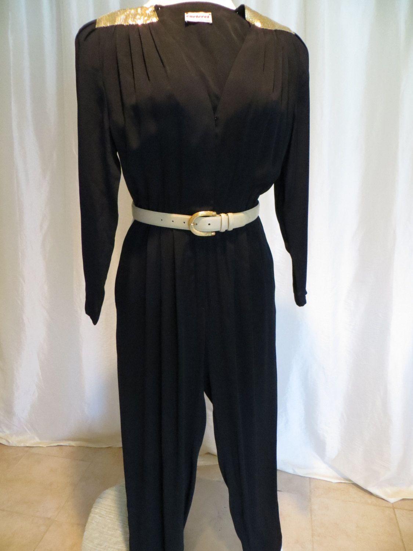 84ac9653fd0b Vintage womens jumpsuit 80s black gold lame evening wear.  25.00