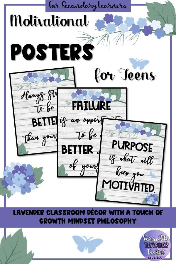 Growth Mindset Posters for Teens Elegant FloralLavender Classroom Decor Set Welcome your students with these elegant floralthemed motivational posters Ideal for secondary...