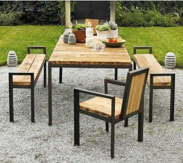 Must have for my future deck/patio - Long Table with Dining Bench ...