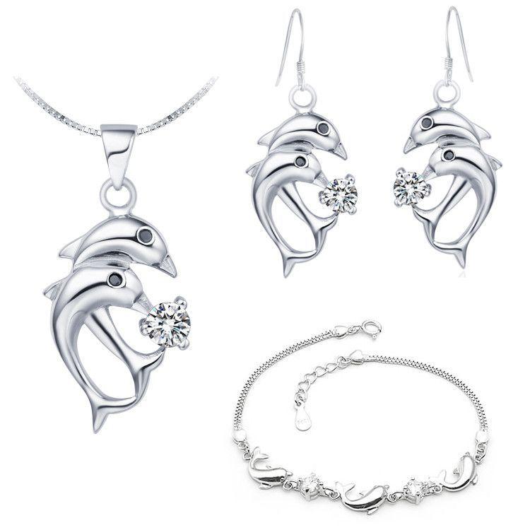 silver two dolphins women necklaces earrings bracelets
