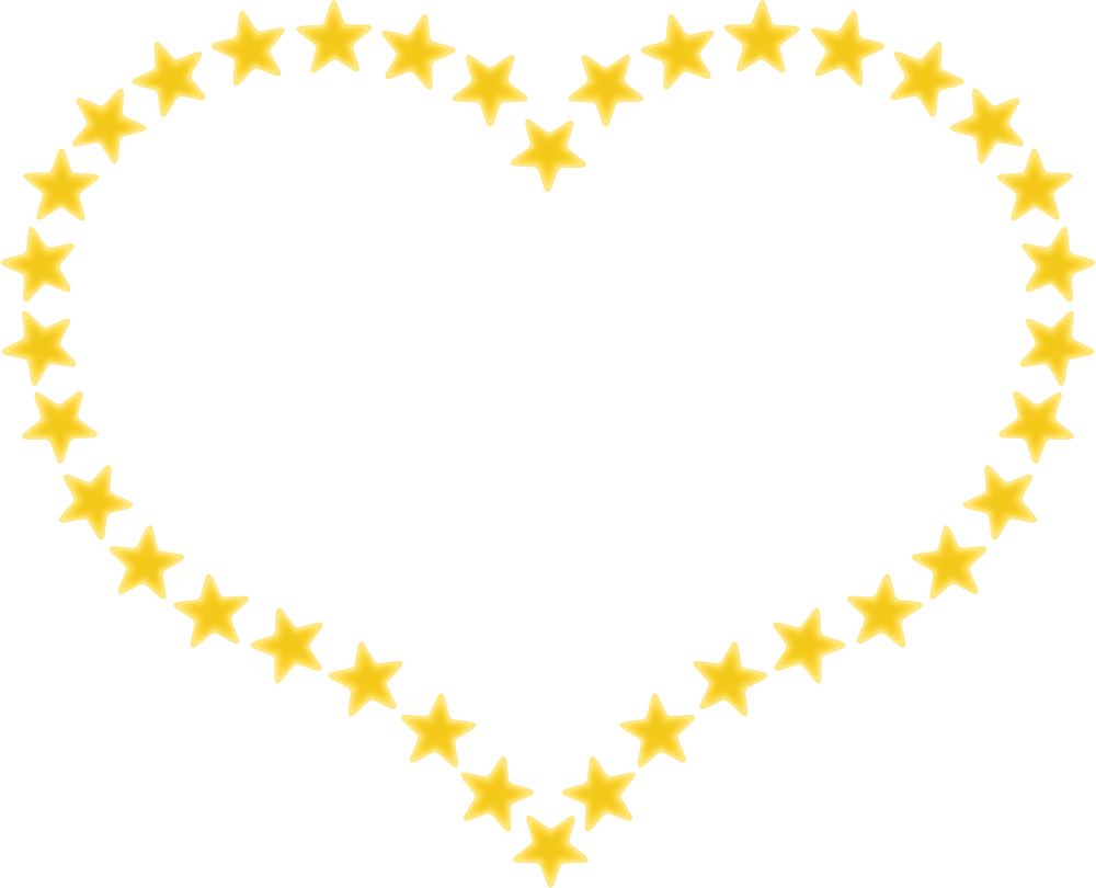 Heart Shaped Border With Yellow Stars Valentines Day Free Clip Art