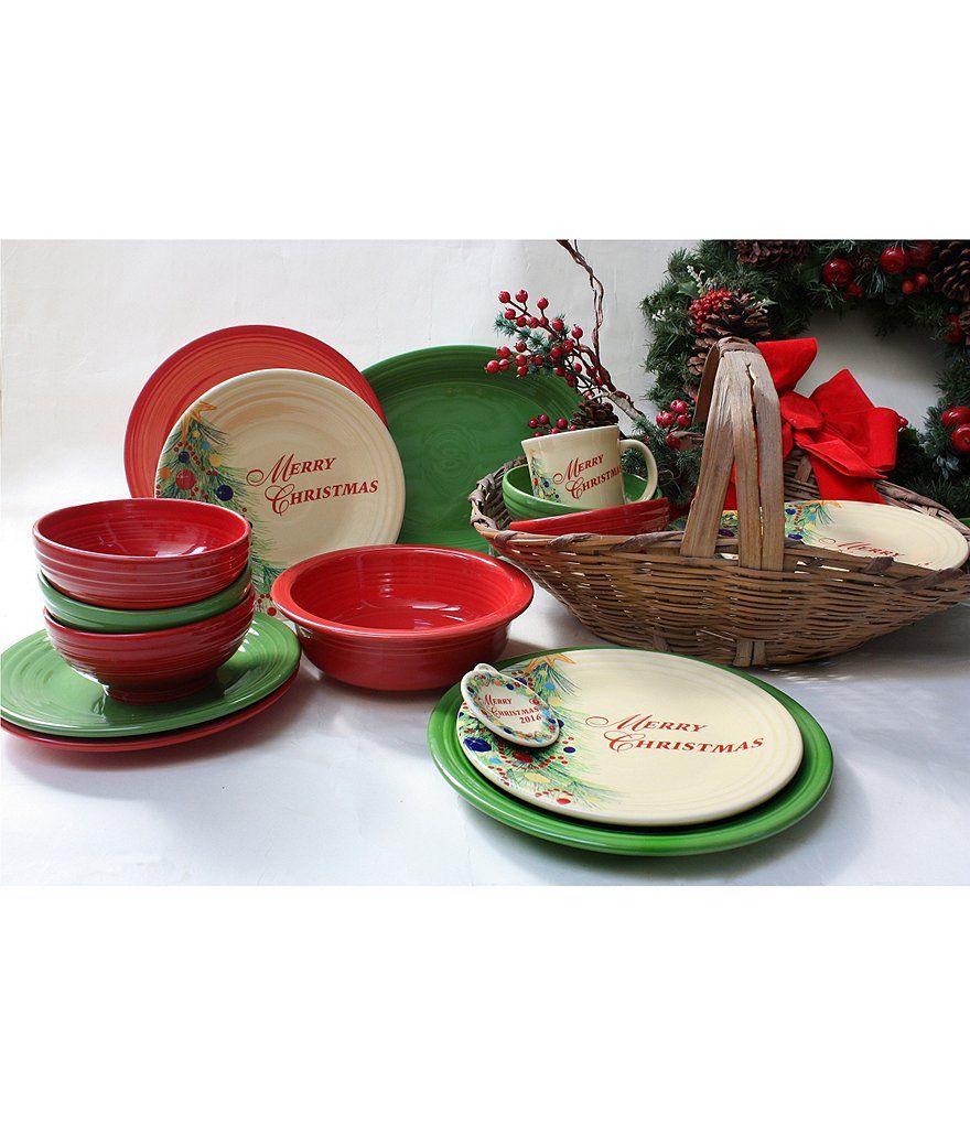 Fiesta® Christmas Tree Merry Christmas Dinnerware displayed with Scarlet and Shamrock Fiesta® Dinnerware   Dillardu0027s  sc 1 st  Pinterest & Fiesta® Christmas Tree Merry Christmas Dinnerware displayed with ...
