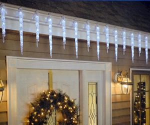 Icicle Crystal Spikes Shape Led Lights For Christmas Solar Christmas Lights Icicle Christmas Lights Christmas Light Installation