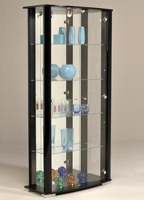 Moderne Vitrinen glas vitrine mit beleuchtung abschließbar schwarz vitrinen