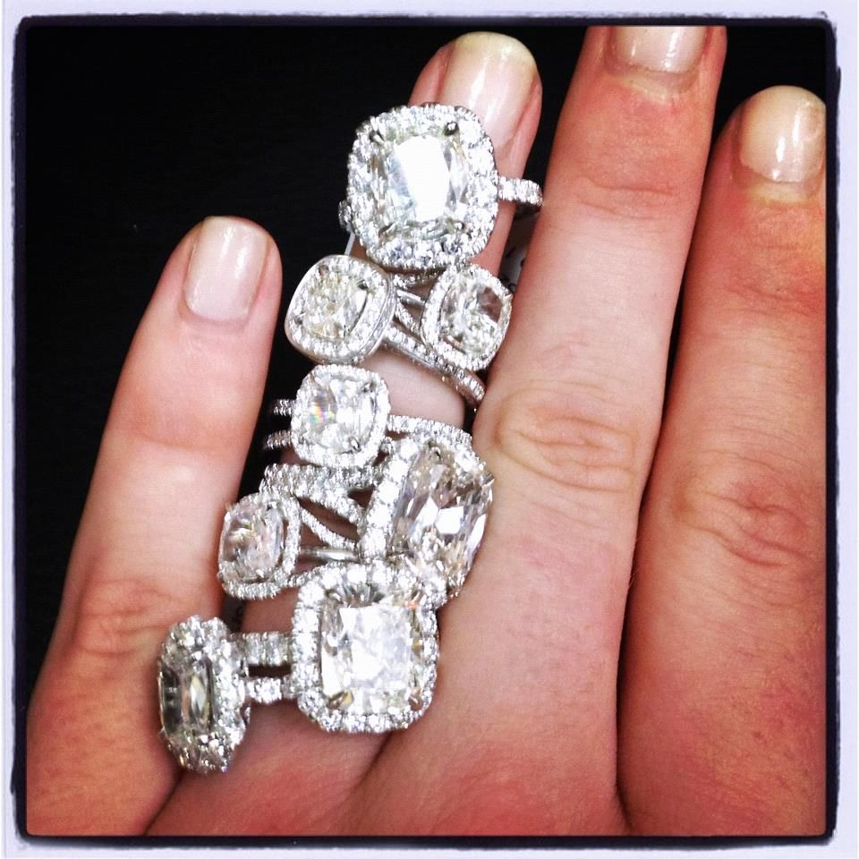 cushion cut wedding rings, any one will do :) | diamonds | Pinterest ...