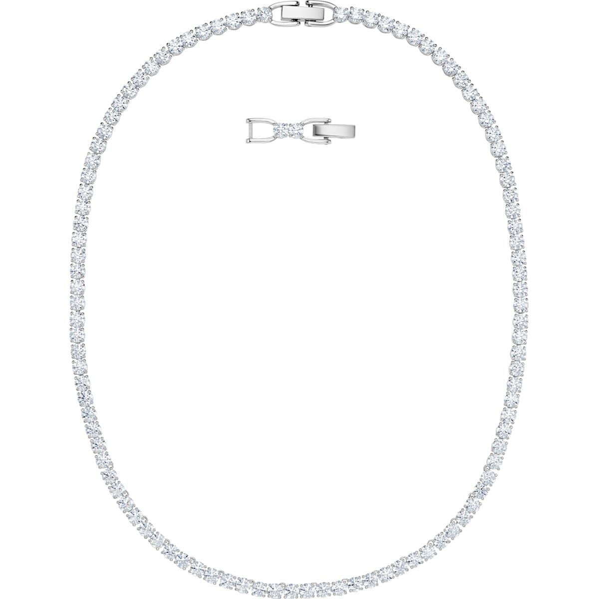 Tennis Deluxe Necklace White Rhodium Plated By Swarovski In 2020 Swarovski White Crystal Bracelet Crystal Necklace