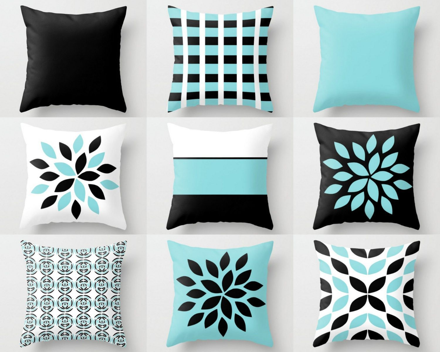 Couch Pillow Covers, Aqua Black White Pillow Covers, Floral Throw ...