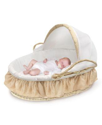 Badger Basket 97003 Natural Moses Basket with Fabric Canopy Beige Gingham Bedding