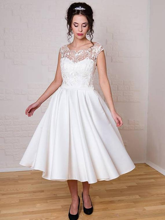 4a8aa851ca28 Chic Tea Length Wedding Dresses A-line Scoop Applique Unique Wedding Dress  AMY077
