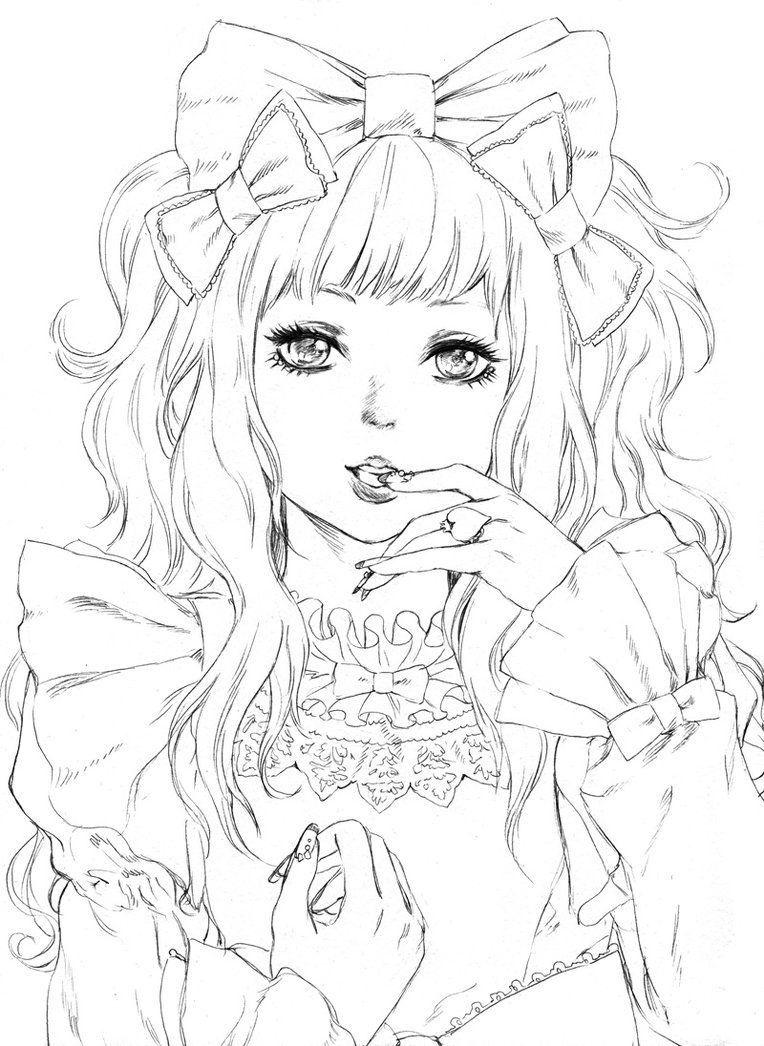 Coloring coloriage manga femme kawaii | Coloriage | Pinterest