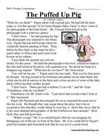 Fifth Grade Reading Comprehension Worksheet The Puffed Up Pig