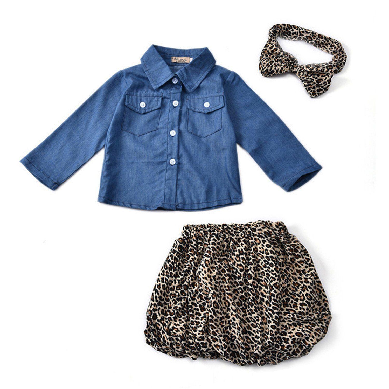 f652810fe684 2017 Spring Autumn Cute Baby Girls Clothes Toddler Kids Denim Tops+Leopard  Culotte Skirt ...