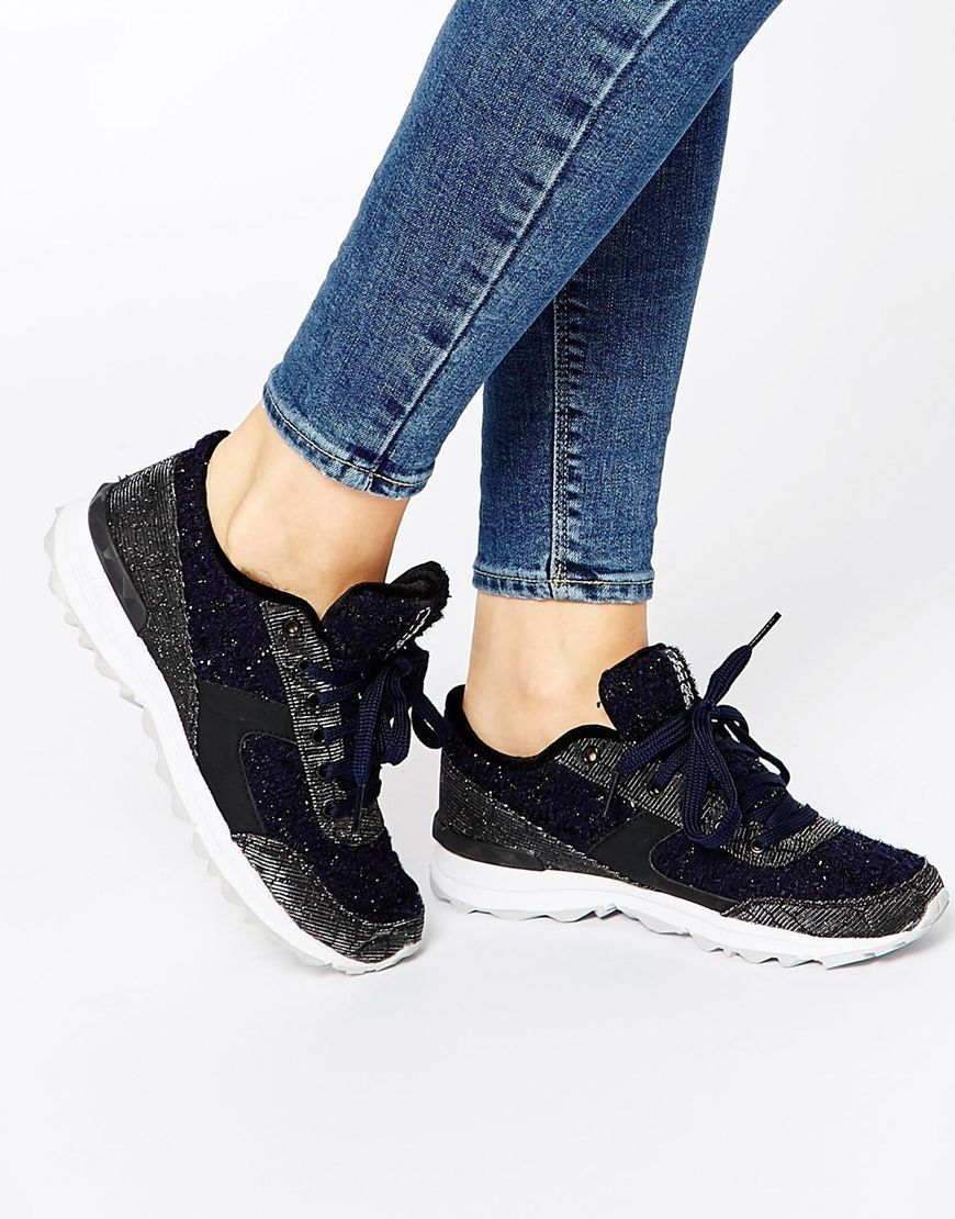 Buy Women Shoes / Sam Edelman Dax Black & Navy Trainers