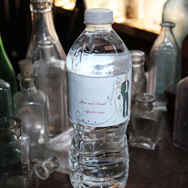 Vinyl Wrapped Water Bottle Labels Wedding Favor Bridal Shower Favor