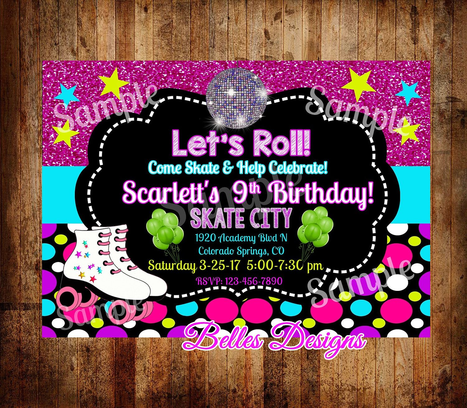 Roller Skating Party Invitations, Skating Invitation, Birthday ...