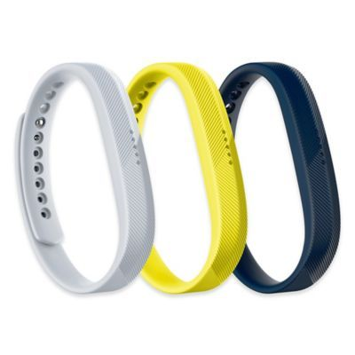 Fitbit Flex 2 Large Wristband Accessory 3-Pack In White/yellow/black