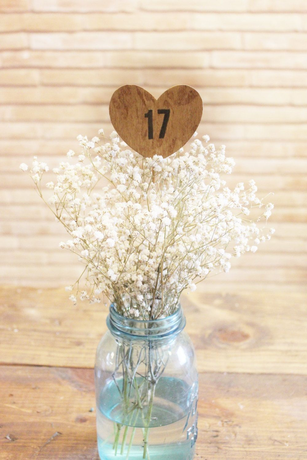 1 wood heart table numbers on a stick . table number wedding ...