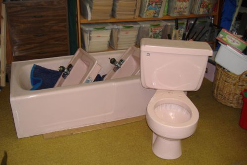 Vintage 1950 S Pink Bath Tub Toilet Two Sinks Ebay Pink Baths