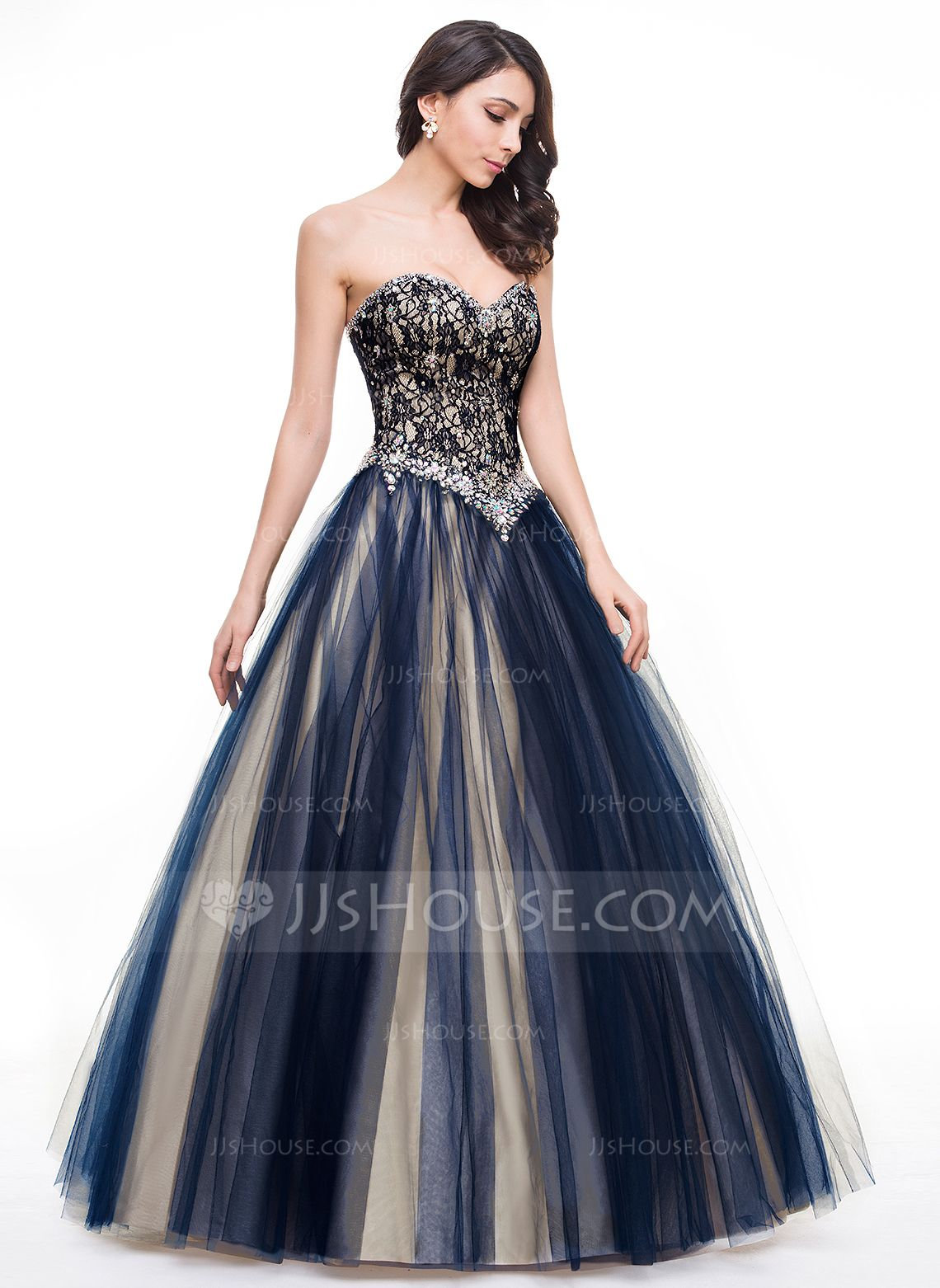 Ballgown sweetheart floorlength tulle lace prom dresses with