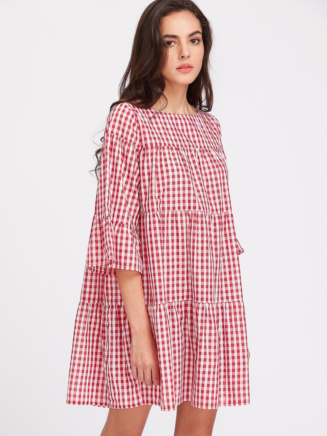 Red plaid sleeve gingham tent dress in fashun pinterest
