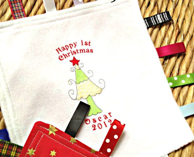 buy personalised baby s first christmas taggy blanket by jellibabies at wowthankyou https