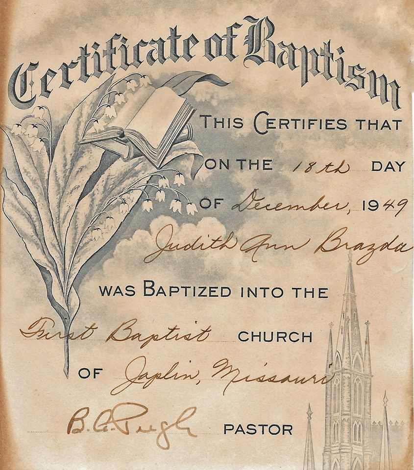 Judith Ann Brazda Baptism Certificate Preliminary Research Finds