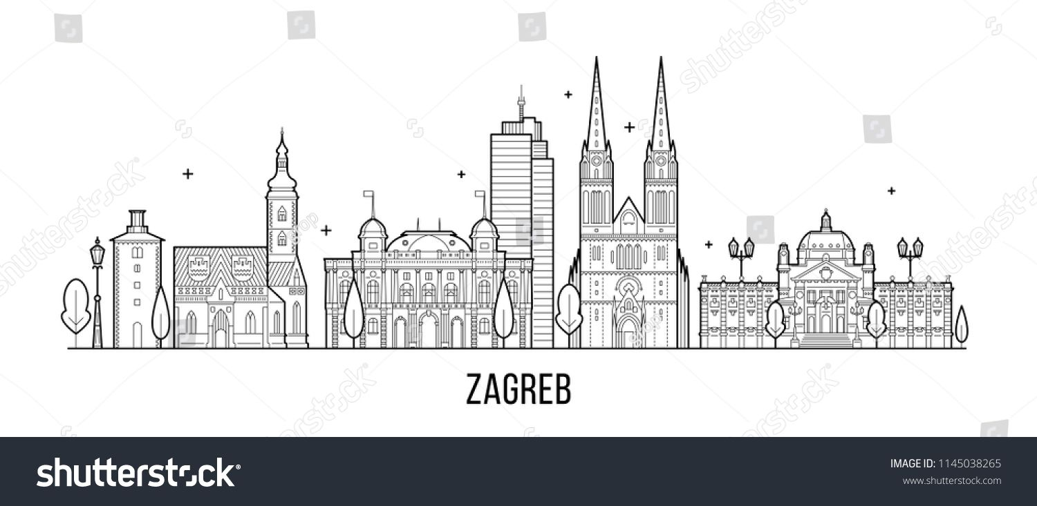 Zagreb Skyline Croatia This Illustration Represents The City With Its Most Notable Buildings Vector Is Fully Editable Ever Illustration Zagreb Stock Vector